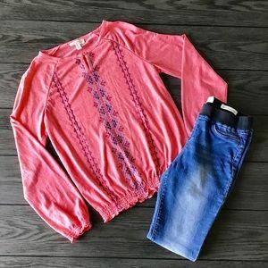 Jessica Simpson Shirts & Tops - Jessica Simpson Boho Girls Coral Shirt Sz 14
